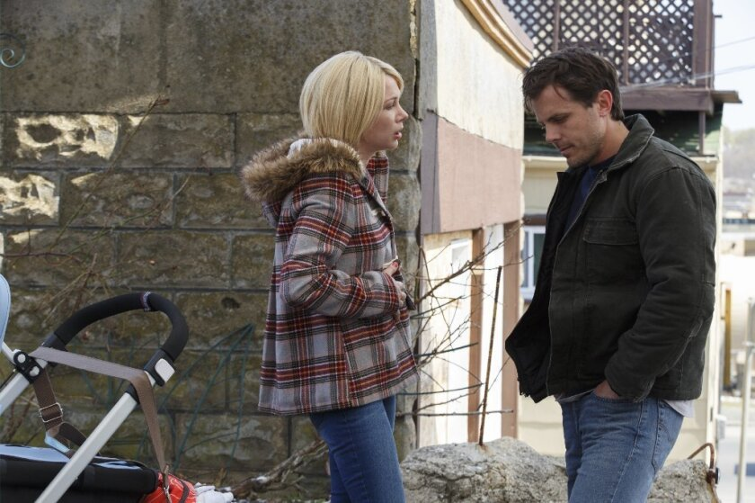 "Michelle Williams and Casey Affleck in ""Manchester by the Sea."" Williams was nominated for a Golden Globe for best supporting actress for her role in the film on Monday."