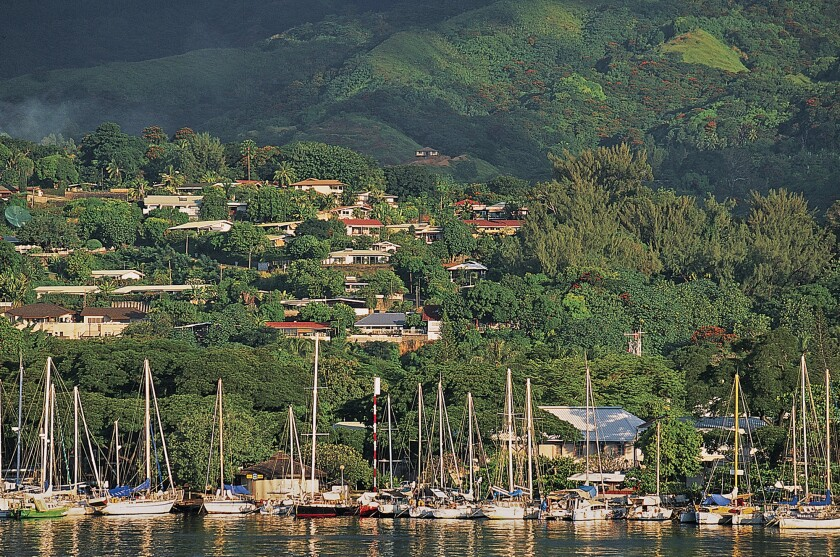 Papeete Harbor in Tahiti. An Air Tahiti Nui package to this French Polynesian island can save you as much as half.