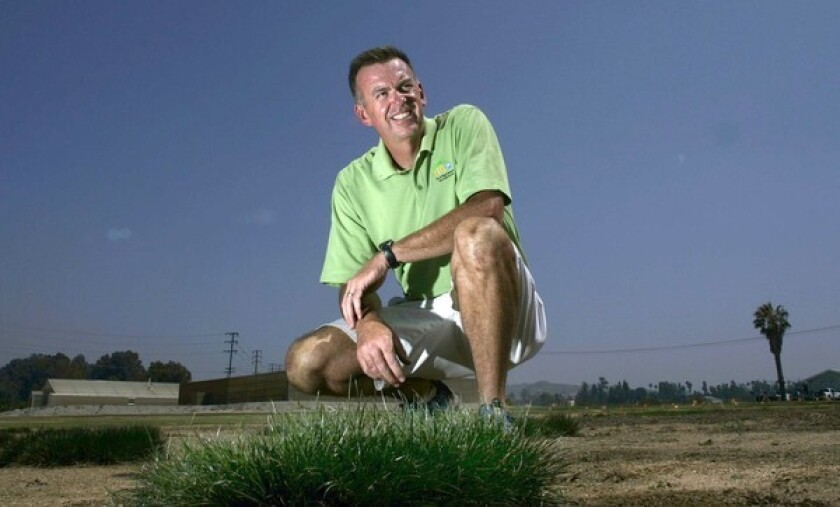 "UC Riverside turfgrass specialist Jim Baird is experimenting with drought-tolerant grass. He hopes his water-wise prototypes will grow up to be the lawns, parks, golf courses and athletic fields of the future. ""My colleagues say I'm crazy,"" he said. ""But it doesn't hurt to dream."""