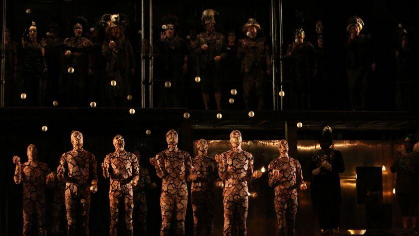 "Gandini Juggling performers in L.A. Opera's ""Akhnaten."""
