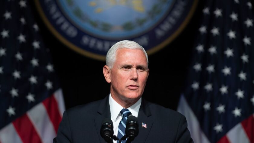 """Vice President Mike Pence speaks about the Trump administration's proposal for a new """"space force"""" at the Pentagon on Thursday."""