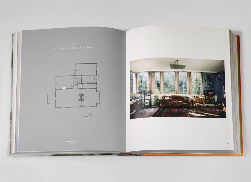 Photographs of the interior are mapped on floorplans of the Arensbergs' house.