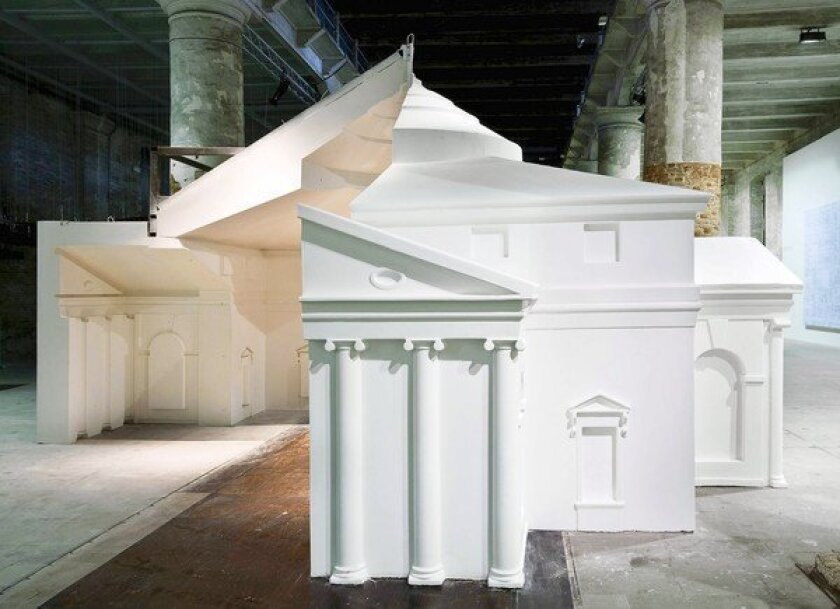The young British firm FAT contributed an installation about architectural copying that included a recreation of part of Andrea Palladio's 16th century Villa Rotunda in Vicenza, Italy.