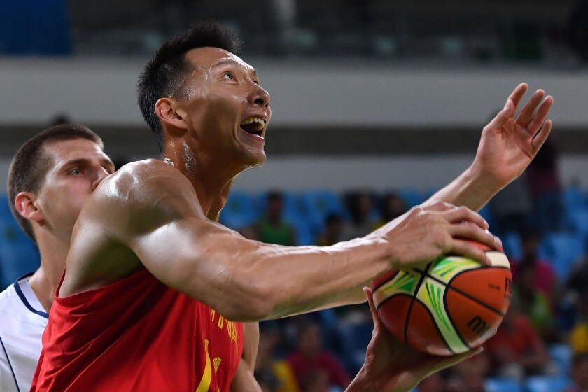 China forward Yi Jianlian goes to the basket during an Olympics Group A basketball game against Serbia at the Carioca Arena 1 in Rio de Janeiro on Aug. 14.