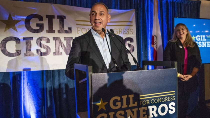 Gil Cisneros speaks to his supporters as results come in for California?s 39th Congressional distric