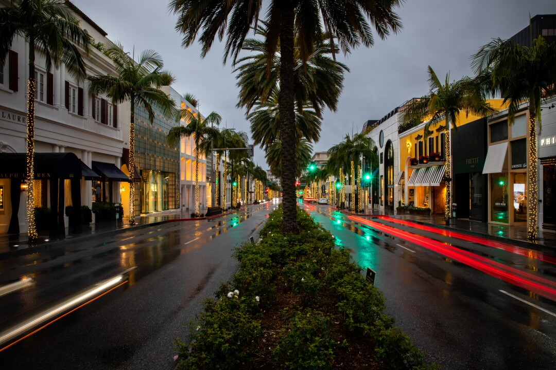 Time exposure along the famed Rodeo Drive in the heart of Beverly Hills