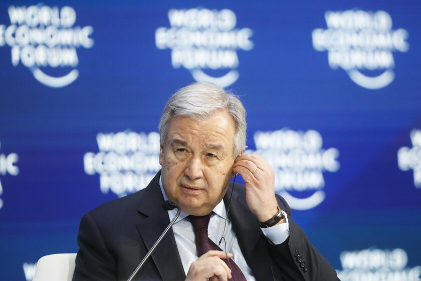 United Nations Secretary-General Antonio Guterres attends a session during the World Economic Forum in Davos, Switzerland, Thursday, Jan. 23, 2020. The 50th annual meeting of the forum is taking place in Davos from Jan. 21 until Jan. 24, 2020 (AP Photo/Markus Schreiber)