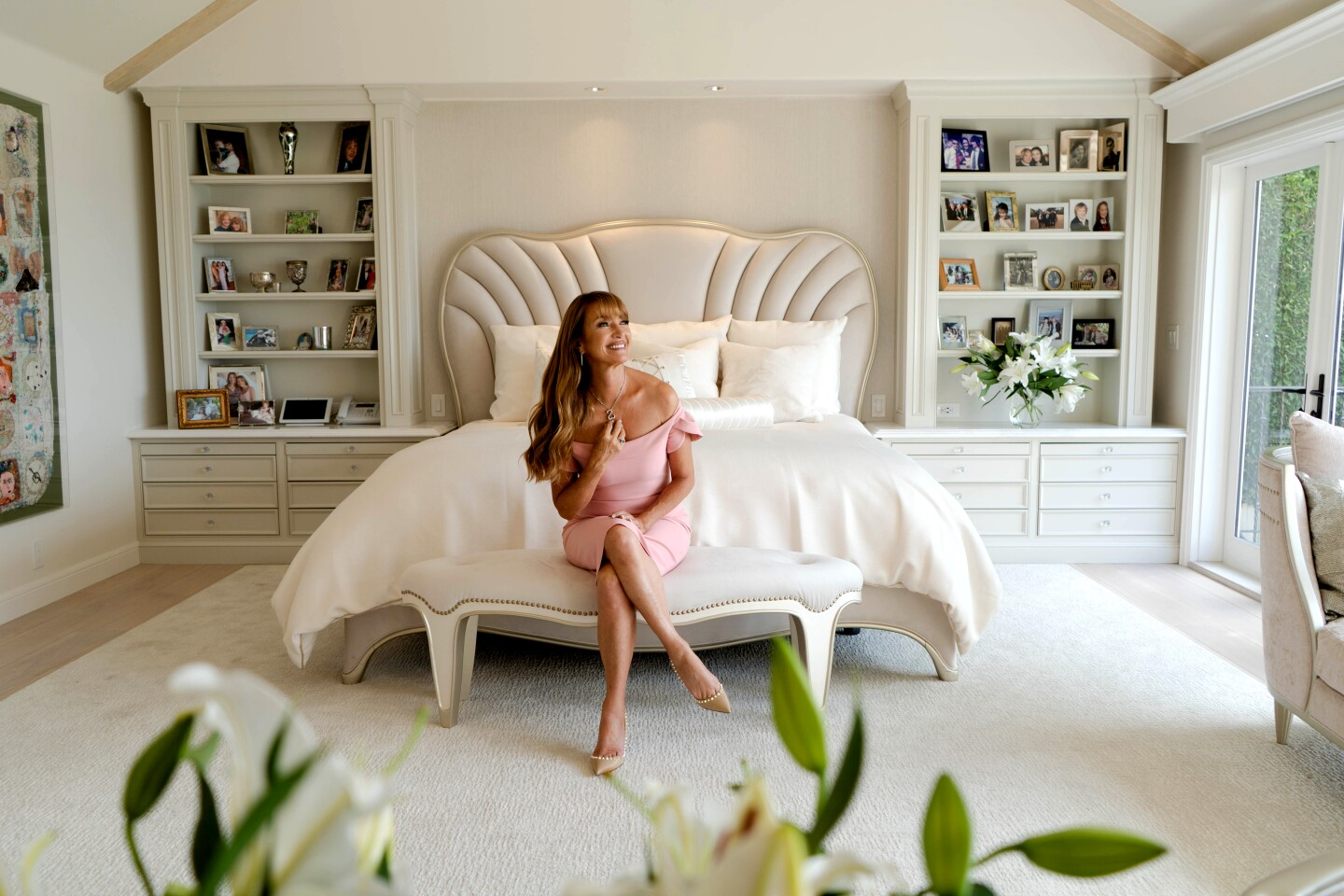 Actress Jane Seymour in her favorite room — her bedroom in her modern, 6,300-square-foot Tudor-style home, perched on a coastal hill in Malibu. Photographed on (Jesse Goddard / For The Times)