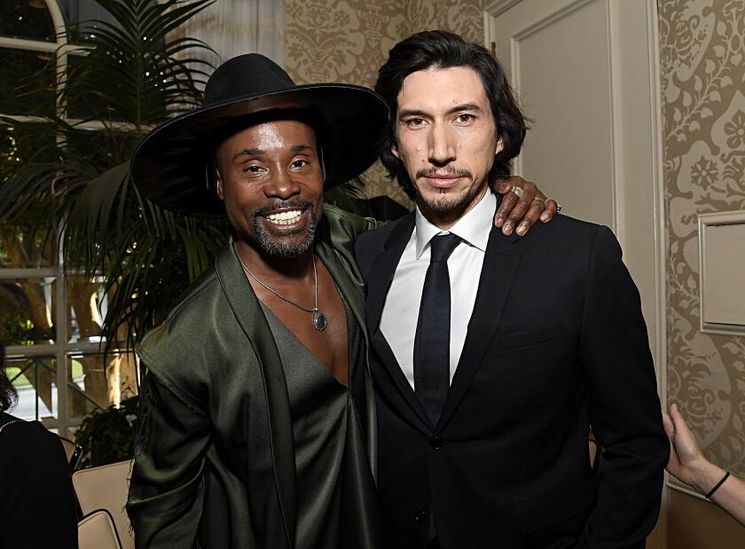 Billy Porter, left, and Adam Driver attend the BAFTA Los Angeles tea party.