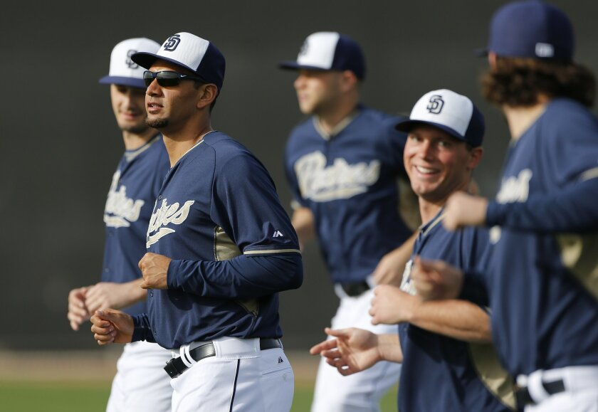 Padres pitcher Tyson Ross works out with other players at the Padres spring training.