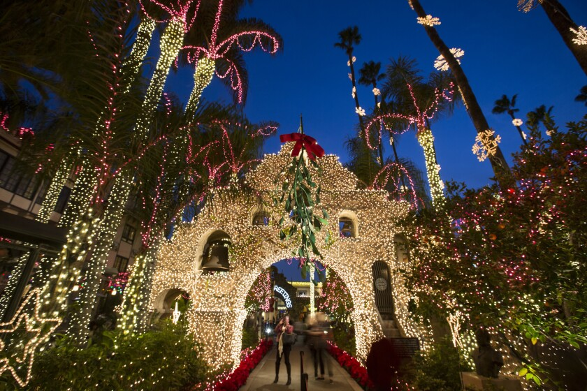 Bright holiday lights decorate the  Mission Inn in Riverside