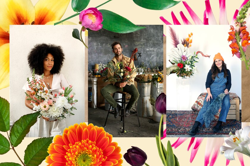 """Illustration featuring three local contestants on HBO Max's new show, """"Full Bloom."""""""