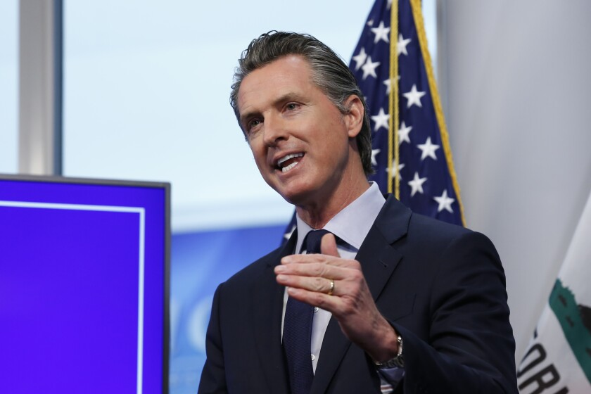 Gov. Gavin Newsom says lease arrangements to use motels as emergency housing for the homeless during the COVID-19 crisis allows them to be turned into long-term permanent homeless residences when the pandemic has passed.