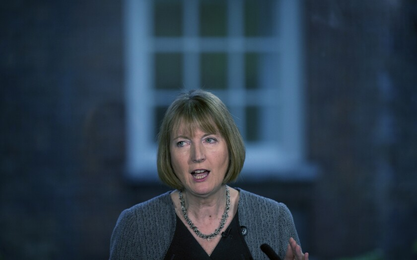 """FILE - In this file photo dated Monday, May 18, 2015, British main opposition Labour Party lawmaker Harriet Harman speaks during a press conference at their party headquarters in London. A British Parliamentary Committee on Human Rights said in a report issued Friday Nov. 1, 2019, many people with autism or learning disabilities are being detained in """"horrific"""" conditions and is calling for an overhaul of the system, """"This inquiry has shown with stark clarity the urgent change that is needed,"""" said the committee chair, Harriet Harman, in the statement. (AP Photo/Matt Dunham, FILE)"""