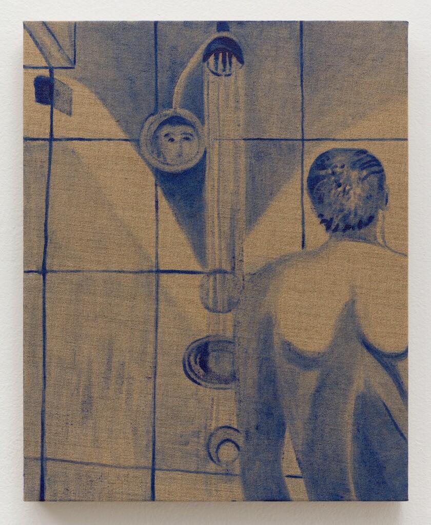 "Katie Herzog, ""George W. Bush Shower painting,"" 2020, oil on linen."