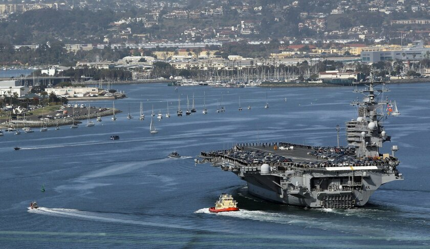 The aircraft carrier Ronald Reagan pulls into its home port at North Island Naval Air Station Thursday afternoon after undergoing repairs at a facility in Puget Sound. On the left is Shelter Island.