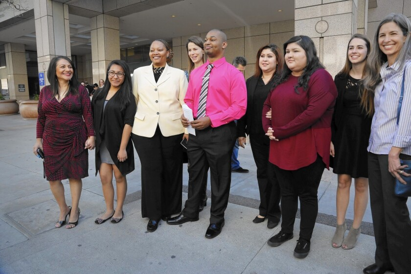 Some of the nine student plaintiffs in the Vergara v. State of California case stand together outside the 2nd District California Court of Appeal in Los Angeles on Feb. 25.