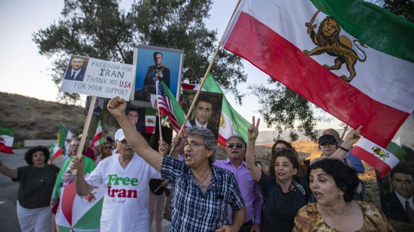 SIMI VALLEY, CALIF. -- SUNDAY, JULY 22, 2018: Iran protesters call attention to their struggle for