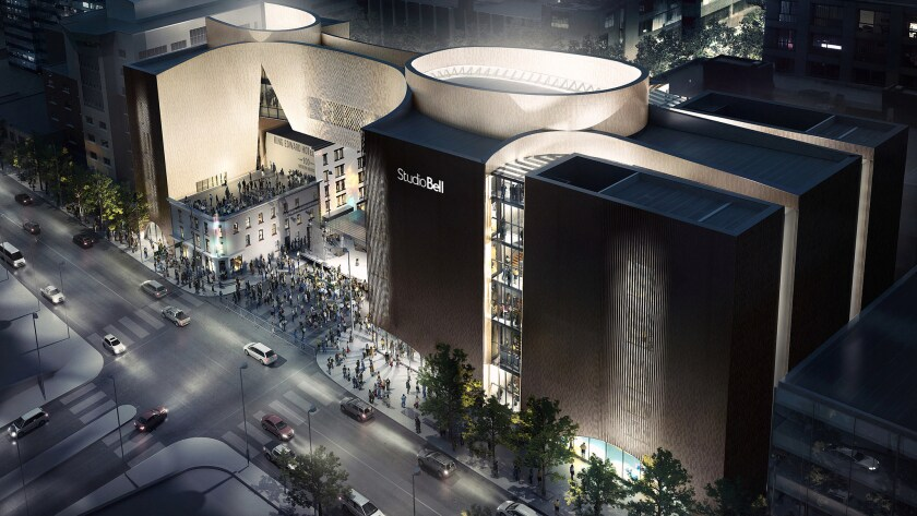 A rendering of the exterior Studio Bell, a sprawling music complex in Calgary, Canada.