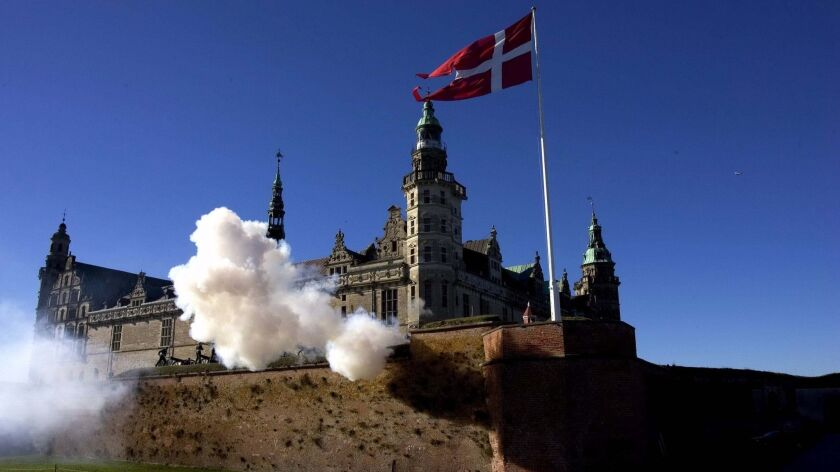 FILE - A Saturday Oct. 15, 2005 photo from files of a 21 canon salute at Kronborg Castle in Helsingo