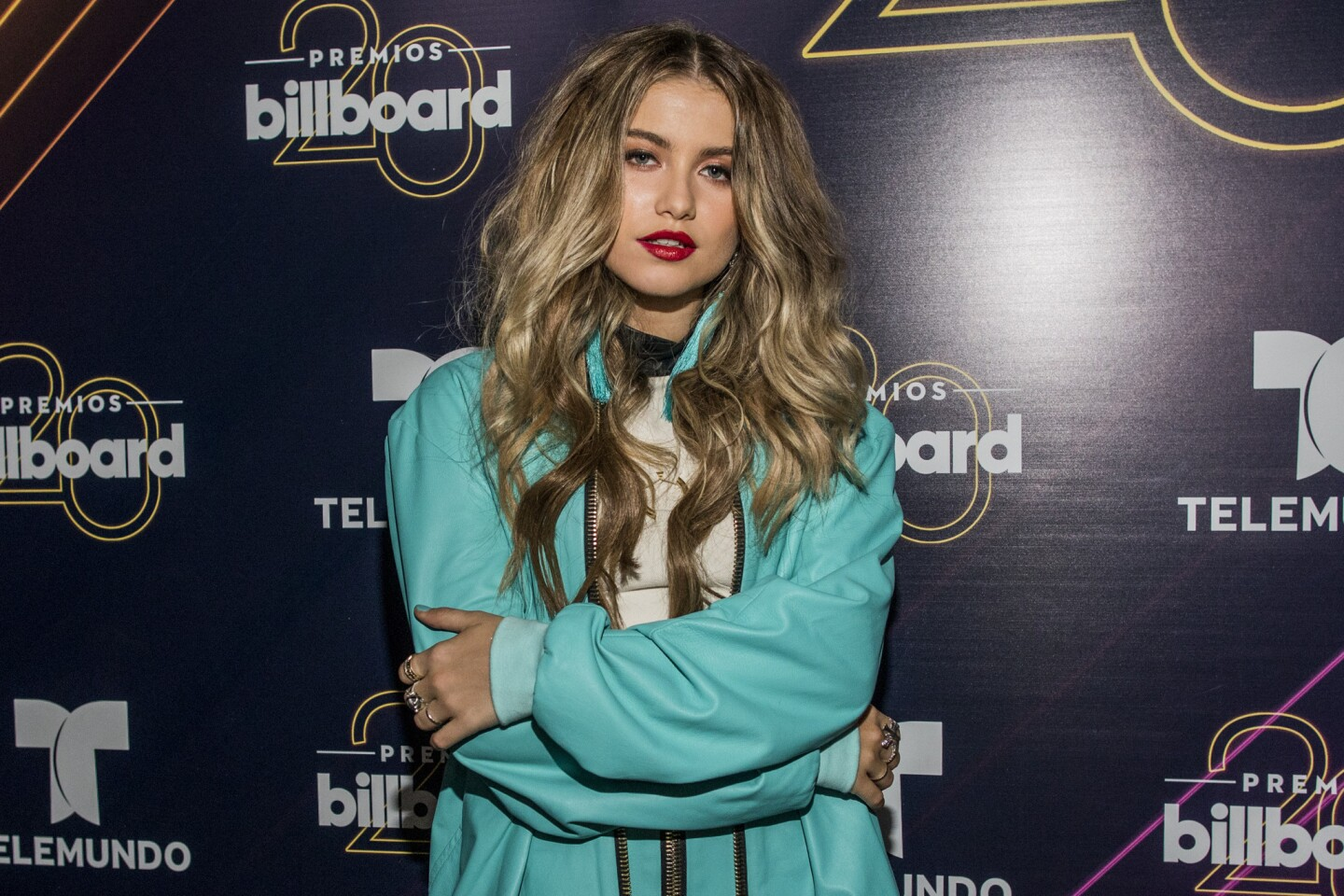 Sofia Reyes poses at the 20th annual Latin Billboard Awards at the Mandalay Bay Events Center on Thursday, April 26, 2018, in Las Vegas. (Photo by Joe Buglewicz/Invision/AP)