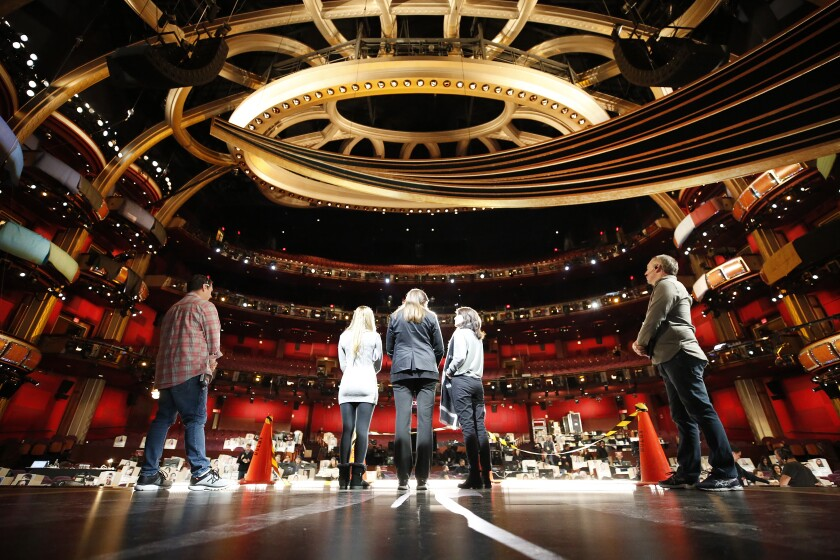 The production team rehearses at the Dolby Theatre for the 92nd Oscars.