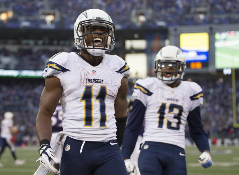 San Diego Chargers vs. Baltimore Ravens at M&T Bank Stadium.San Diego Chargers wide receiver Eddie Royal (11) reacts to scoring the go ahead touchdown in the 4th quarter helping the Chargers beat the Ravens 33-34.
