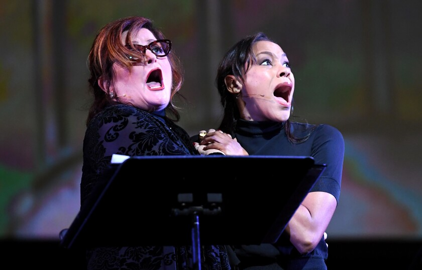 Faith Prince (right) as Ruth and Nikki M. James as Eileen in Los Angeles Opera's semi-staged performance of Leonard Bernstein's 'Wonderful Town'