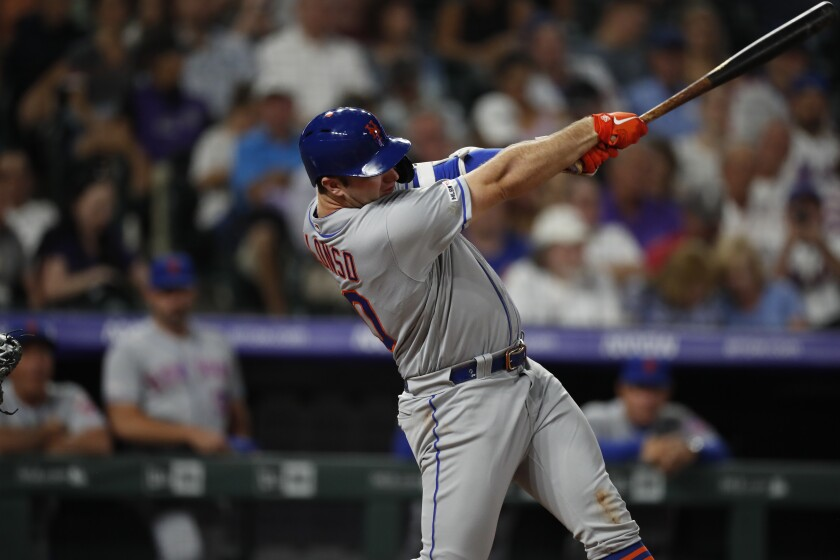 New York Mets first baseman Pete Alonso hits against the Colorado Rockies on Sept. 16.