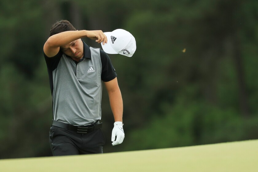 Xander Schauffele of the United States walks up the 18th hole during the final round of the Masters at Augusta National Golf Club on April 14, 2019 in Augusta, Georgia.