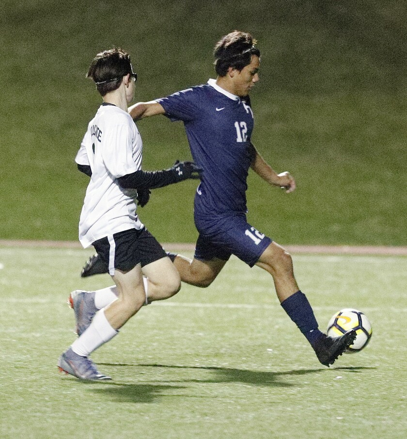 Flintridge Prep boys' soccer player Silas Chavez, right, was named the Prep League's Most Valuable Player for a second straight season.
