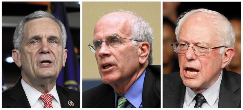 Rep. Lloyd Doggett, left, Rep. Peter Welch and Sen. Bernie Sanders want public hearings on Xtandi.