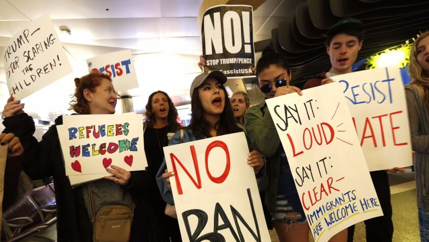 Demonstrators gather at Tom Bradley Terminal at LAX in late January to protest President Trump's travel ban.