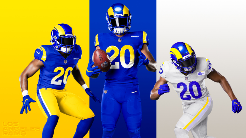 Rams new uniforms and color combinations for the 2020 season.