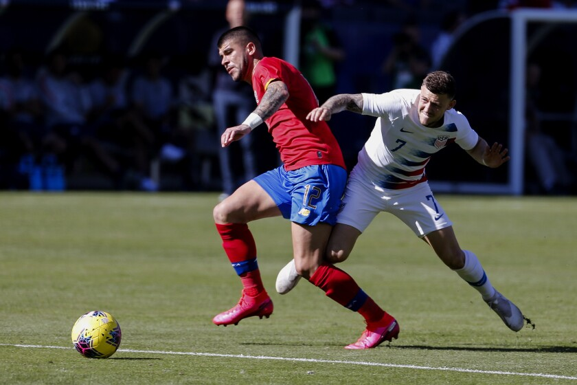 Costa Rica's Ulises Segura, left, and the United States' Paul Arriola vie for the ball during the Americans' 1-0 exhibition victory Feb. 1, 2020, in Carson.