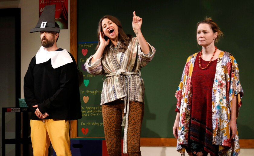 "Noah Bean, Alexandra Henrikson and Samantha Sloyan in ""The Thanksgiving Play"" at the Geffen Playhouse."