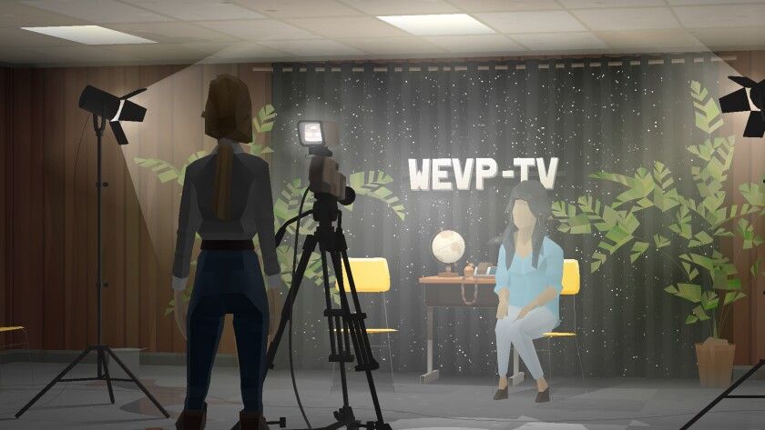 "A scene from ""Kentucky Route Zero"" shows a cameraperson, video camera and spotlight trained on a faceless woman sitting in front of a backdrop that says ""WEVP-TV."""