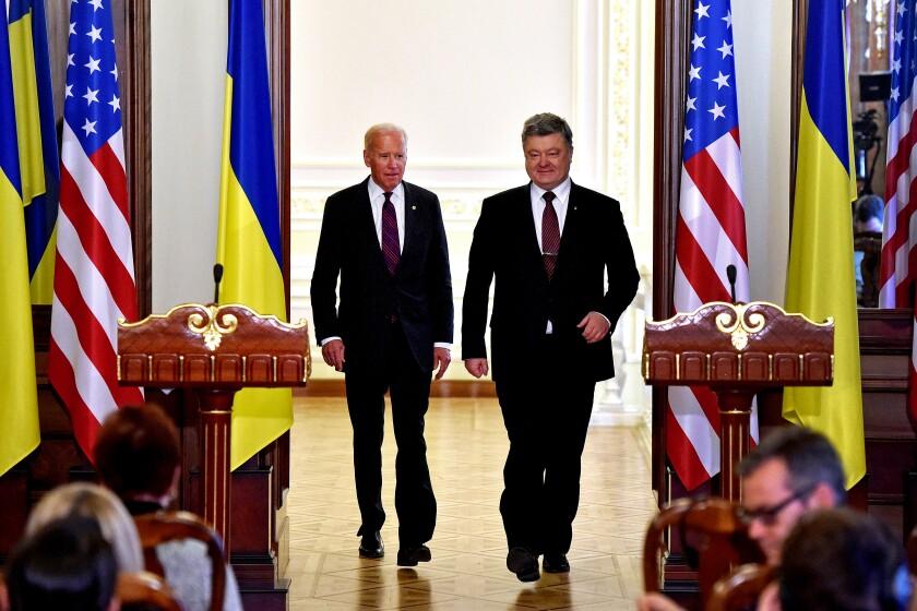 Then-President Petro Poroshenko of Ukraine and then-Vice President Joe Biden of the U.S. after their meeting in Kyiv on Jan. 16, 2017.