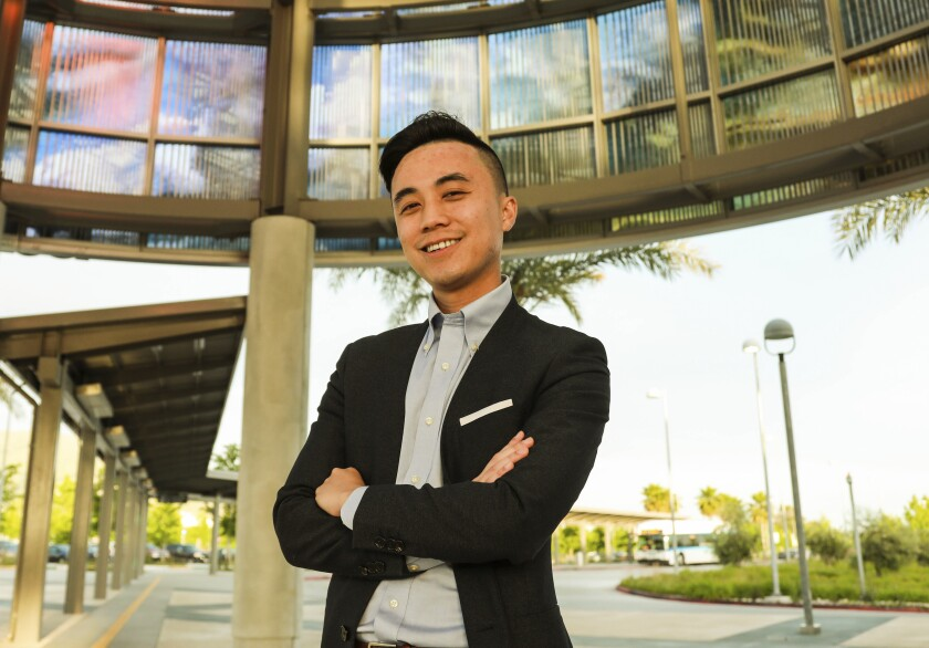 In a photo provided by Alex Lee for State Assembly 2020, Alex Lee poses for a photo at the Warm Springs Bay Area Rapid Transit station in Fremont, Calif., May 22, 2019. Voters have elected Lee, the youngest state lawmaker in more than eight decades. Lee survived a crowded nine-candidate primary election in March, then trounced his Republican rival by winning 73% of the vote in a San Francisco Bay Area district that includes part of Silicon Valley. (Vanessa Hsieh/Alex Lee for State Assembly 2020 via AP)