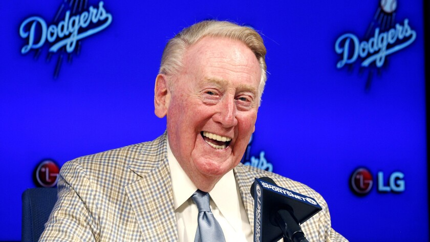 Vin Scully called Dodgers games for 67 seasons. He has been released from the hospital after a fall at his home Tuesday, according to a team statement.