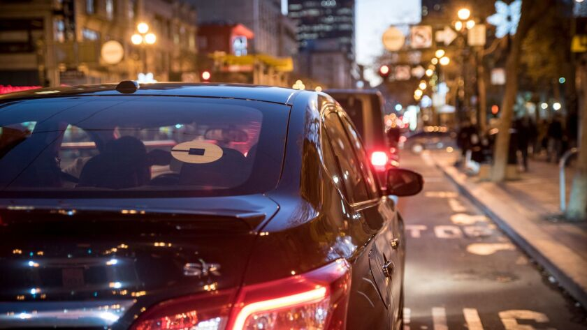 An Uber car in San Francisco in 2016.