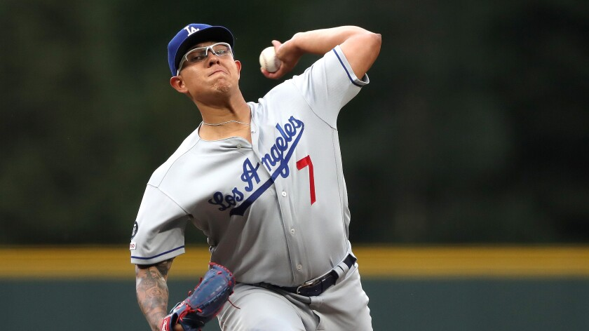 Julio Urias will start for the Dodgers against the Colorado Rockies on Tuesday.
