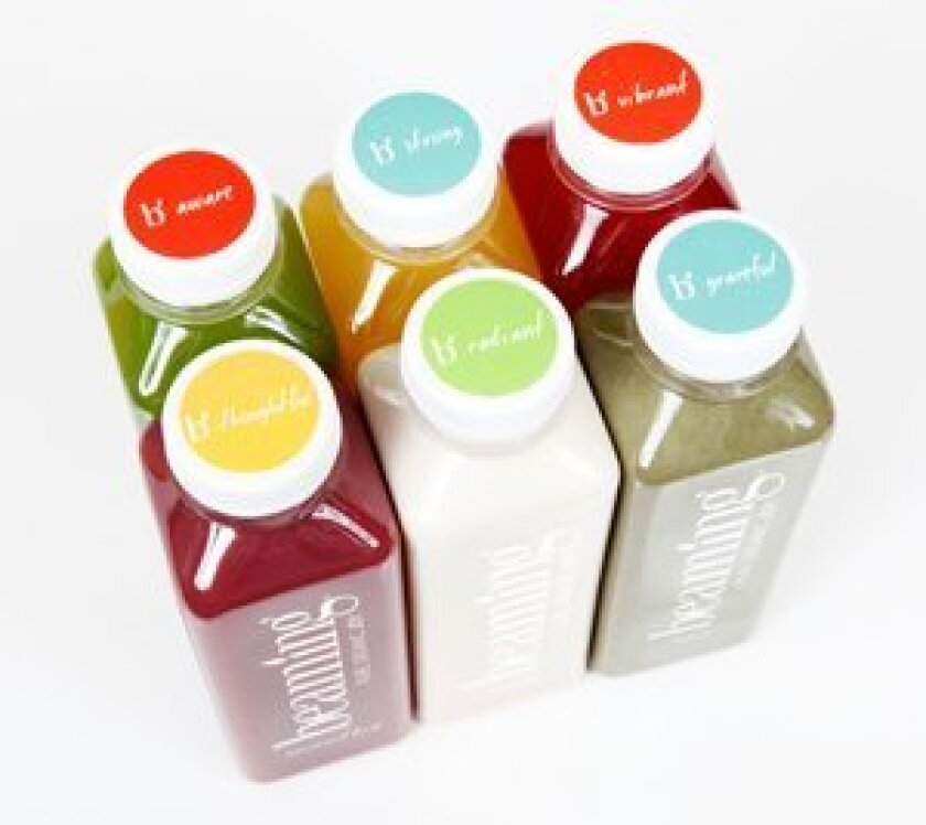 Beaming's juices, soups, smoothies and cocktail mixers are packaged in 16 oz. bottles with inspirational messages on the lid.
