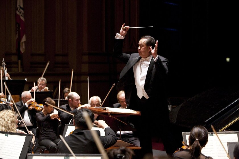 Jahja Ling conducts the San Diego Symphony. On Friday, April 29, Ling successfully led the orchestra in a performance of Mahler's Symphony No. 6.