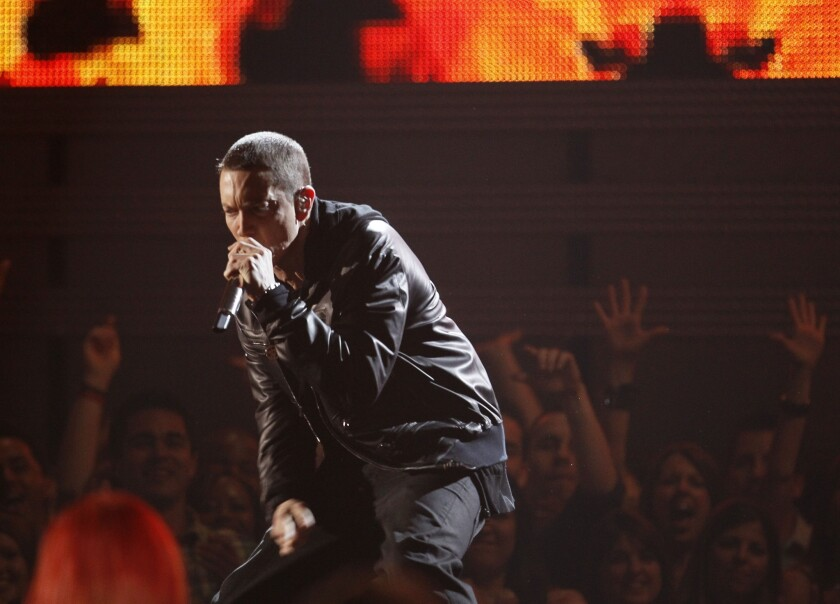 Eminem performs at the 53rd Annual Grammy Awards held at the Staples Center on February 13, 2011 in Los Angeles, California.