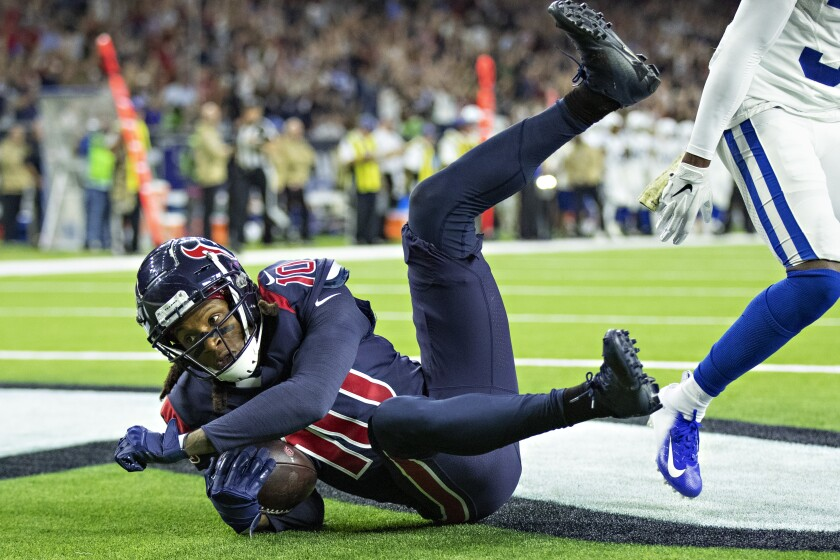 Texans receiver DeAndre Hopkins catches a pass for a touchdown against the Colts on Nov. 21 at NRG Stadium.