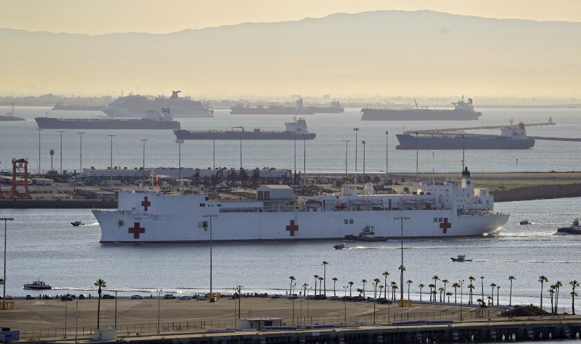 The USNS Mercy entered the Port of Los Angeles March 27. The The 1,000-bed Navy hospital ship was sent to take the load of other ill patients off Los Angeles area hospitals, which at the time were expected to be filled with coronavirus patients.