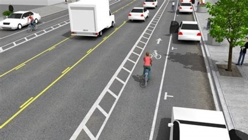 A buffered bike lane without raised barriers
