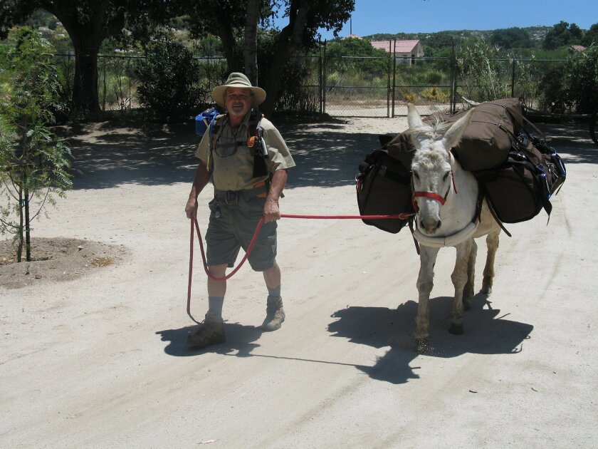 Mike Younghusband, 61, El Cajon, plans to trek the length of Baja with his burro, Don-Kay, and two dogs.