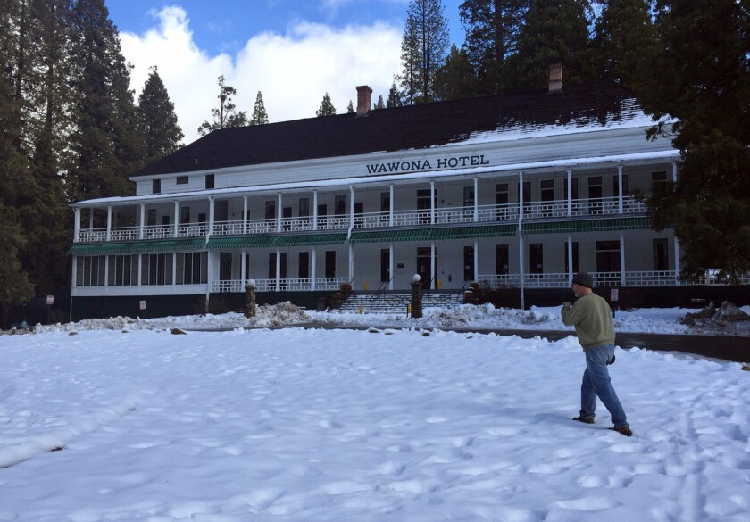 The Wawona Hotel which is to become the Big Trees Lodge in trademark flap, still bore its historic name on Friday.